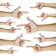 isolated hands pointing - stock photo