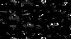 Looping Silver and Gold Zodiac Libra Symbols Falling Stock Footage