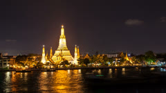 1080  - WAT ARUN TEMPLE AT NIGHT - Bangkok Timelapse Stock Footage