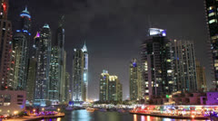 Dubai Marina At Night Time Lapse. - stock footage
