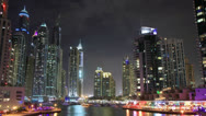 Stock Video Footage of Dubai Marina At Night Time Lapse.