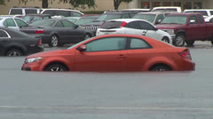 Car in Flood Stock Footage