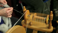 Stock Video Footage of hand spinning wool to yarn