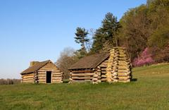 soldiers huts at valley forge - stock photo
