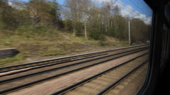 Train travel UK. Past houses. Stock Footage
