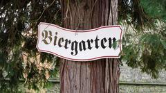 biergarten sign in germany - stock photo