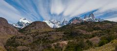 Cerro torre and fitz roy from trekking road heading to the base camp Stock Photos