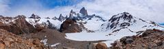 fitz roy from to the laguna panorama - stock photo