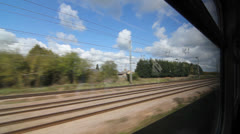 Travelling by train in the UK. Window. Stock Footage