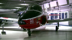 British military jet in an aviation museum Stock Footage