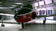 Stock Video Footage of British military jet in an aviation museum