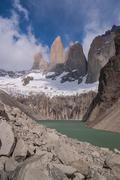 torres del paine in chilean national park with lake - stock photo