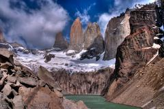 Torres del paine in chilean national park with lake hdr Stock Photos