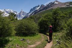 cerro torre from trekking road heading to the base camp with trekking person - stock photo