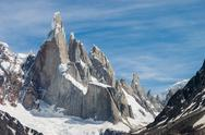 Stock Photo of cerro torre at perfect weather no clouds horizontal
