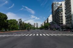 buenos aires street with twelve lanes - stock photo