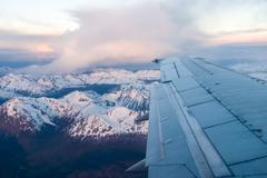 in the airplane close to ushuaia - stock photo