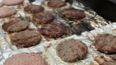 Meat cooking on grill Stock Footage