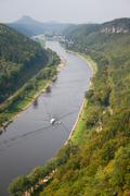 Bastei with elbe river and boat in saxony Stock Photos