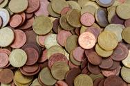 Stock Photo of Pile of euro coins