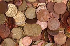 Euro coins topview b Stock Photos