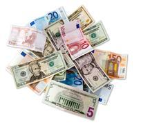 Euro and Dollar banknotes Stock Photos