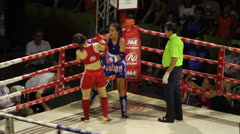 Two Female Muay Thai Kick Boxers Fight Stock Footage
