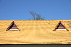 gable on the yellow roof look like smiling eyes. - stock photo