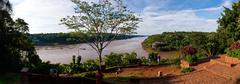The iguacu river close to the falls Stock Photos