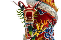 The Font view of Chinese dragon statue Stock Photos