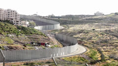 Israeli West Bank separation barrier - stock footage