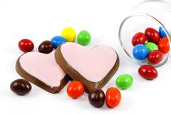 Candy and heart chocolate Stock Photos
