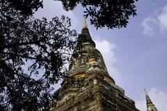 old big pagoda in mongkol temple, ayutthaya province, thailand - stock photo