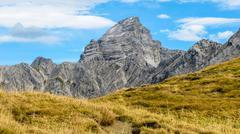 impressive alpine peak with yellow grass - stock photo