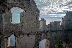 ruins with blue sky in italy - stock photo