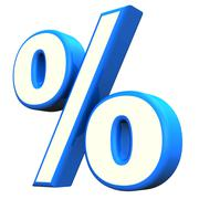 blue percent symbol - stock illustration
