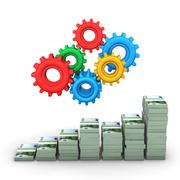 money chart gears - stock illustration