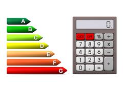 energy efficiency scale calculator - stock illustration