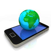 smartphone blue green globe - stock illustration
