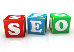seo cubes - stock illustration