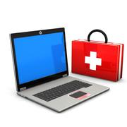 first aid laptop - stock illustration