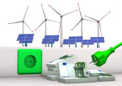 expensive green energy - stock illustration