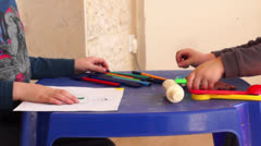 Kids play and draw Stock Footage