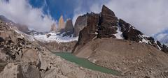 Torres del paine in chilean national park with lake panorama Stock Photos