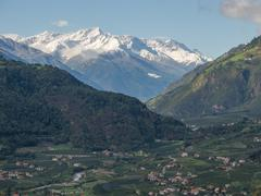alpine landscape close to Merano - stock photo