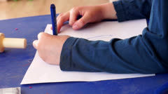 child draw a painting - stock footage