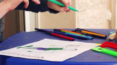 Child draw a painting Stock Footage
