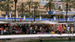 Sunday market in Estepona Stock Footage