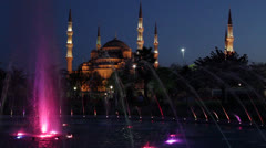 Istanbul Blue Mosque By Night Stock Footage