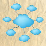 Stock Illustration of crushed paper with blue clouds